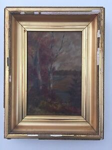 Original-Art-Painting-Fall-Autumn-Oil-on-Canvas-Size-12-5-034-x-16-034-with-Frame