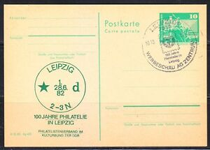 Germany-DDR-1982-post-card-100th-anniver-of-Philately-in-Leipzig-Philatelie