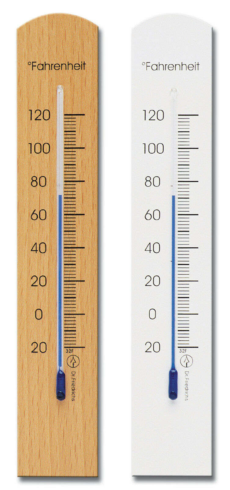 Analog Wall Thermometer Fahrenheit Scale Beech Wood Two Finishes 7.9 inch tall