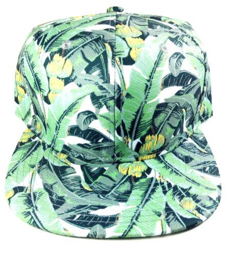 BANANA PALM TREES ALL OVER PRINT HAWAIIAN SNAPBACK HAT CAP FLORAL GREEN RETRO