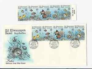 SEYCHELLES-ZIL-ELWANNYEN-SESEL-1987-FDC-amp-MNH-SET-SCOTT-039-s-126-STRIP-OF-5