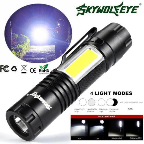 Mini 10000LM 4 Modes Flashlight XPE Q5  COB LED Pocket Clip 14500//AA Torch Light