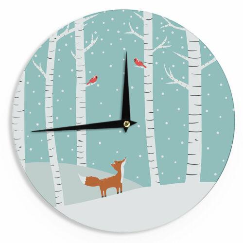 "East Urban Home Cristina bianco Design /'Fox Cardinals Winter/' 12/"" Wall Clock"
