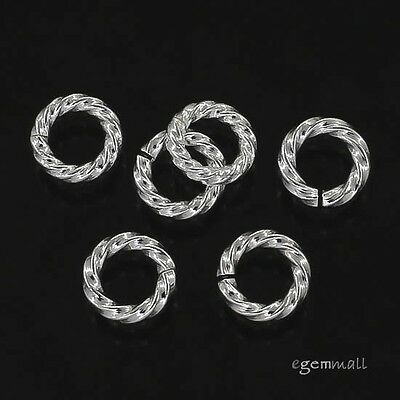 10x Sterling Silver Twist Rope Open Jump Ring 5mm x 1.0mm 18ga  #97868