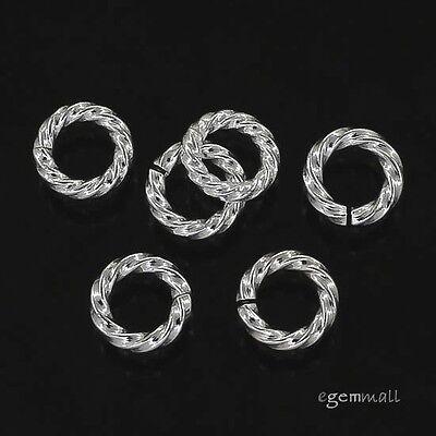 10x Sterling Silver Twist Rope Open Jump Ring 5mm x 1.0mm 18ga  #97868