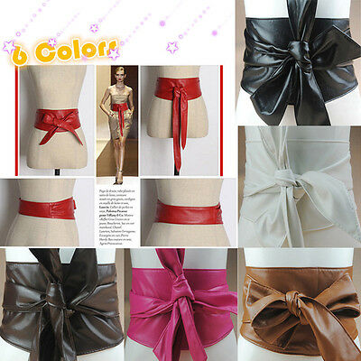 Hot Women's PU Leather Wrap Around Tie Wide Waistband Corset Cinch Belts Band