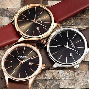 Men-039-s-Akribos-XXIV-AK618-Quartz-Sunray-Dial-Date-Genuine-Leather-Strap-Watch