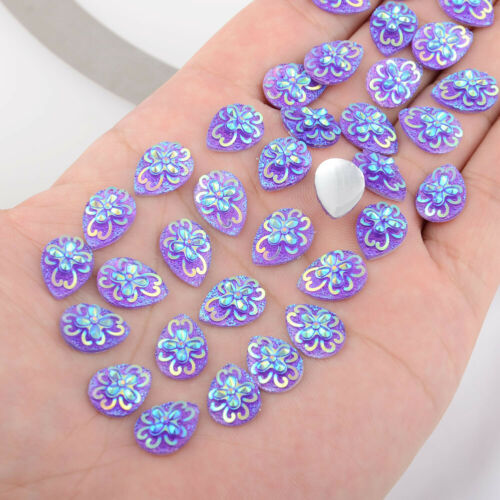 Pear Resin Flower Flatback Sew On Holiday Decoration 80Pcs 10*14mm 0.39*0.55in