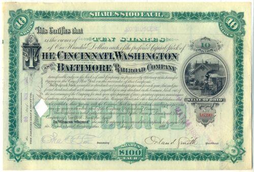 Cincinnati Washington /& Baltimore Railroad Company Stock Certificate Civil War