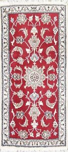 New Hand Knotted Red Floral 5 ft Runner Nain Oriental Rug Wool/Silk 2×5