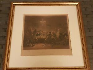Antique-The-Fox-Hunters-Toast-Framed-Print-1841-Luke-Clennel-Engraved-Lupton