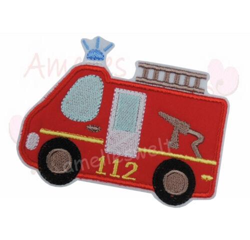 Feuerwehr Bus Aufbügler Aufnäher Bügelbild Patch Sticker BW Stoff