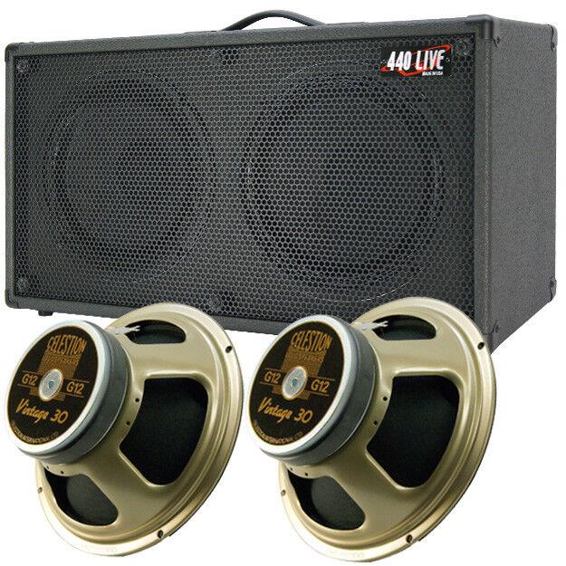 1) 2x12 Guitar Spker Cab Charcoal schwarz Tolex W Celestion Vintage 30 Speakers