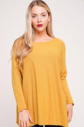 New Italian Lagenlook Soft Knitted Wool /& Angora Mix Swing Floaty Hem Jumper