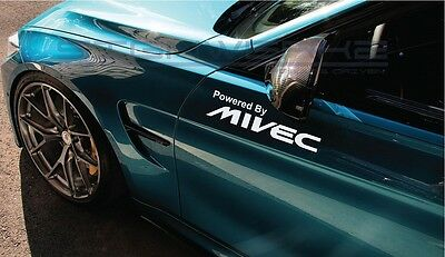 """Powered By Mivec Decal Sticker logo Evolution Lancer Mitsubishi FTO 12/"""" Pair"""