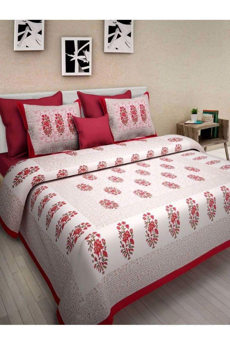 New Designer Cotton Double Bedsheet With 2 Pillow Covers Floral Printed Bedcover
