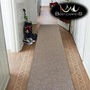 THICK-CHEAP-RUNNER-HALLWAY-PLAIN-beige-94-CORRIDOR-width-50-150-cm-RUGS-Carpets