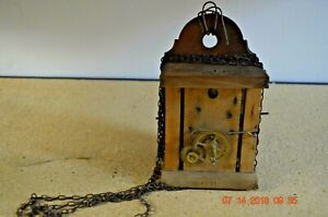 ANTIQUE wall WOODEN PLATES CLOCK MOVEMENT for project