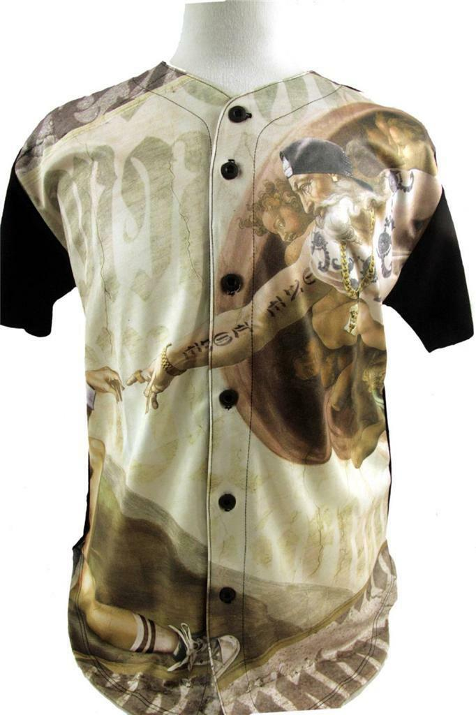 New Mens Crank Front Sublimated Baseball Jersey gold Chain Hip Hop Egyptian Gods
