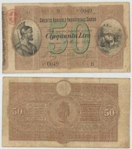 CREDITO-AGRICOLO-INDUSTRIALE-SARDO-50-Lire-1874