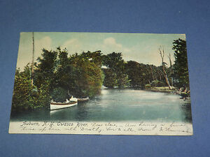 VINTAGE  1906 OWASCO RIVER AUBURN  NEW YORK   POSTCARD