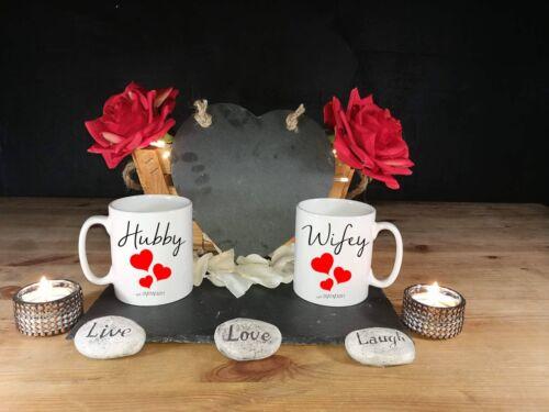 Hubby Wifey Personalised Romantic Coffee Mugs  Newly Weds Wedding Couple