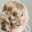 Wedding-Hair-Vine-Crystal-Pearl-Headband-Bridal-Accessories-Long-Chain-Headpiece thumbnail 16
