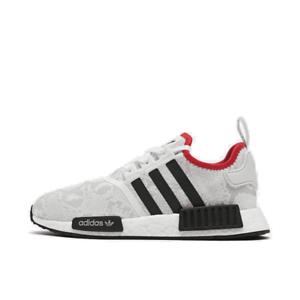 Men-039-s-adidas-NMD-R1-STLT-Primeknit-Casual-Shoes-White-Black-Scarlet-FV3874-100-S