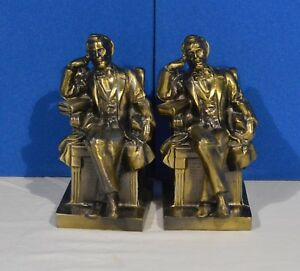 Vintage-Spelter-Bronze-Book-Ends-Abraham-Lincoln-Bronze-Seated-Pose