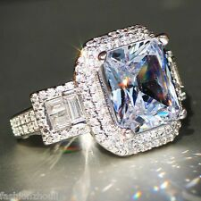 Hot 925 Silver Filled White Sapphire Gemstone Size 8 Birthstone Wedding Ring 595