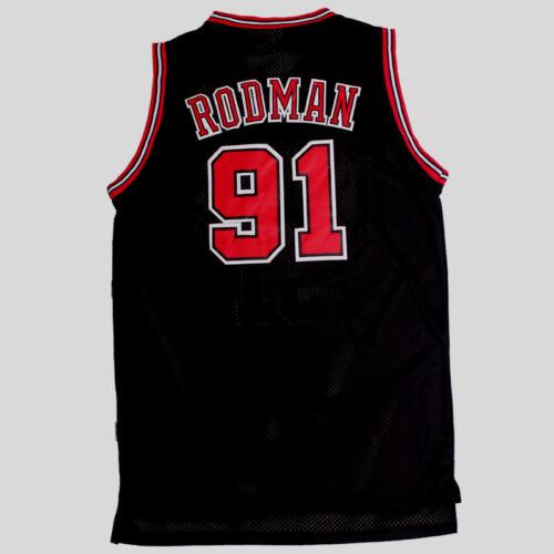 Chicago Bulls Dennis Rodman # 91 Retro Swingman Basketball  Black Jersey