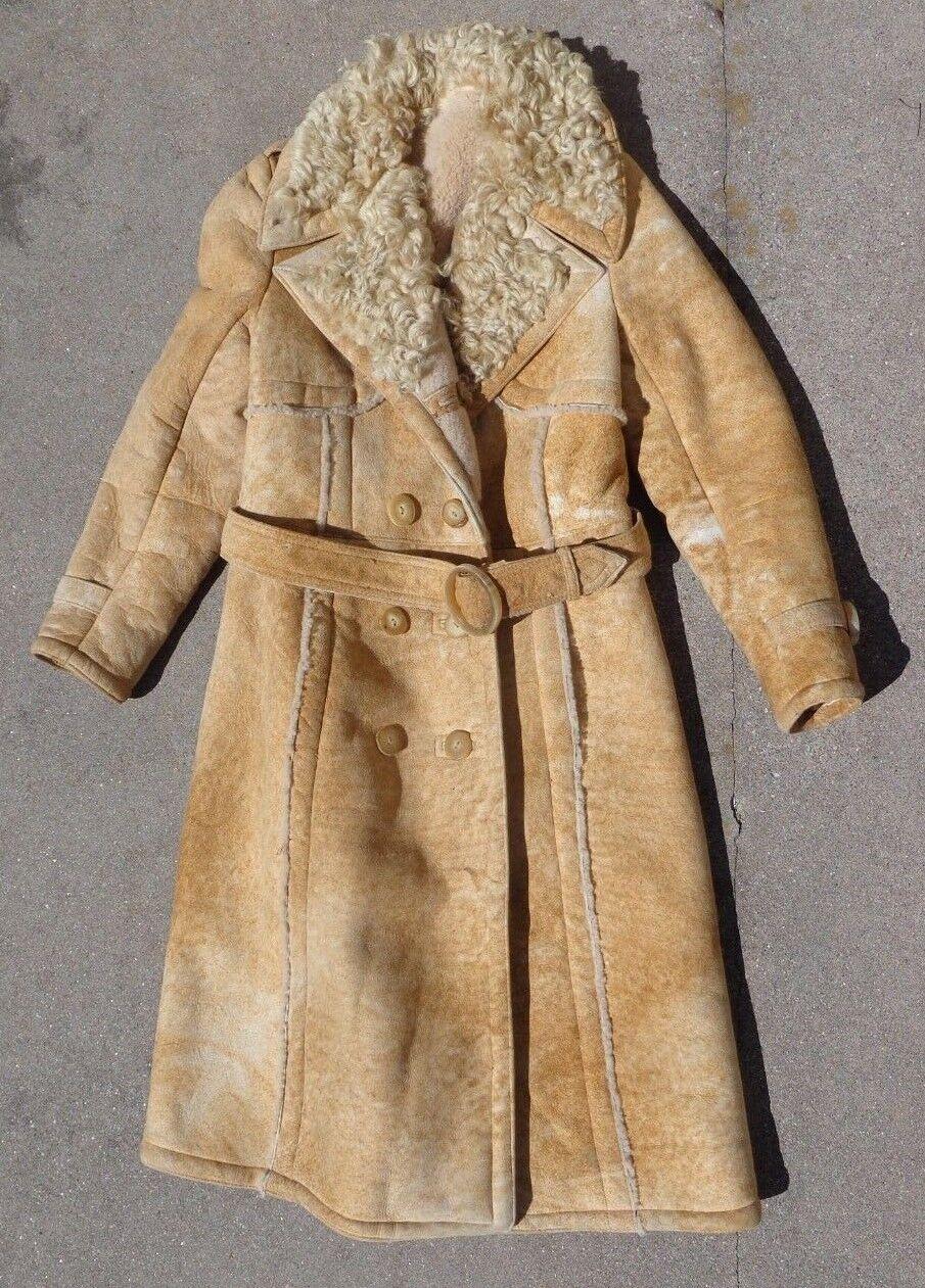 Fine vintage Sheepskin Shop real shearing leather full length coat size 10