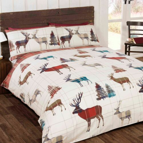 WOODLAND STAG TARTAN DOUBLE DUVET COVER SET CHRISTMAS BEDDING RED NEW