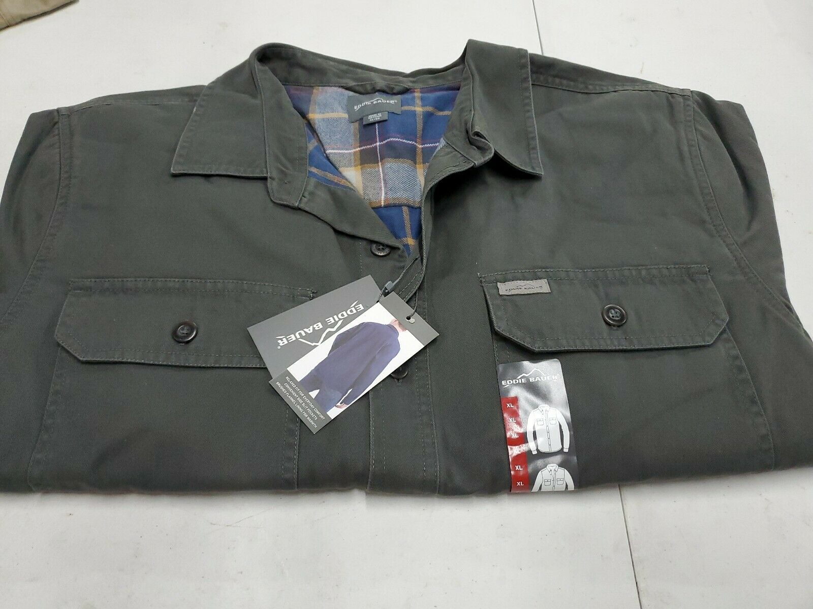 NEW w Tags Eddie Bauer X groß Flannel Lined 100% baumwolle Outter männer Charcoal  79
