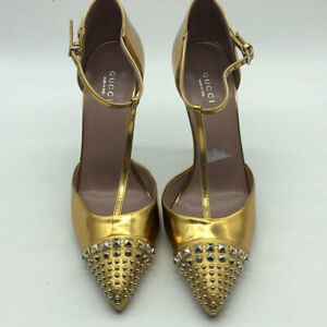 Gucci Metallic Gold Studded Pointed Toe