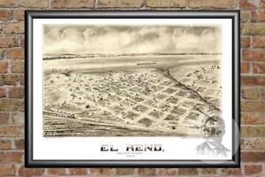Old-Map-of-El-Reno-OK-from-1891-Vintage-Oklahoma-Art-Historic-Decor