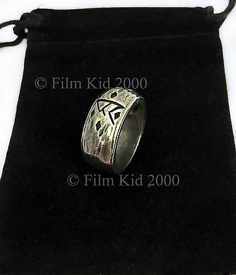 LOTR HOBBIT THORIN SILVER RUNE RING AN UNEXPECTED JOURNEY LORD OF THE RINGS