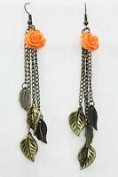 Rose Leaf Dangle Drop Earrings Antiqued Gold Chain Coral Flower 3.5 Pierced
