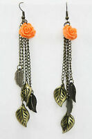 Rose Leaf Dangle Drop Earrings Antiqued Gold Chain Coral Flower 3.5 Pierced