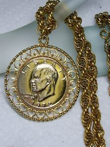 Heavy vintage gold tone 1972 liberty dollar rope chain pendant image is loading heavy vintage gold tone 1972 liberty dollar rope mozeypictures Image collections