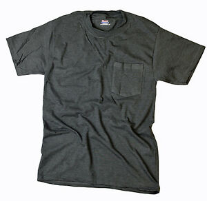 Hanes-Men-Short-Sleeve-Beefy-Pocket-T-Shirt-Charcoal-Heather-Small-S
