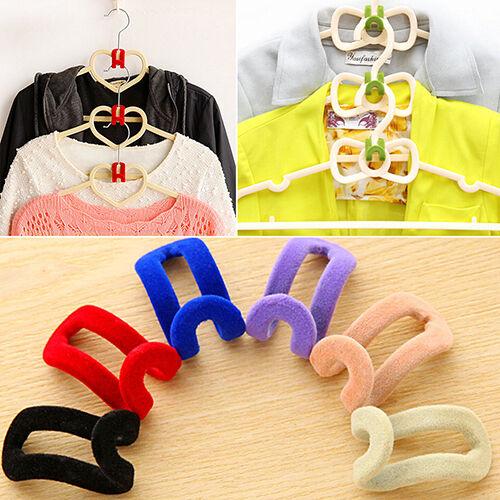 10 PCS HOME CLASSY MINI FLOCKING CLOTHES HANGER EASY HOOK CLOSET ORGANIZER