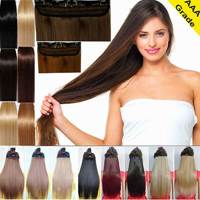 "16"" 18"" 20"" 22"" One Piece 5 Clips DIY Clip In Remy Human Hair Extensions US Q493"