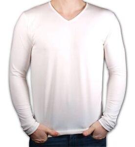 Men-039-s-Cotton-T-shirt-Long-Sleeve-V-Neck-M-2XL-TIARA-GALIANO-1132-High-EU-Quality