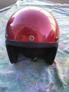 VINTAGE-Metallic-RED-LSI-4170-SZS-Open-Face-MOTORCYCLE-HELMET-USA-Made-Small