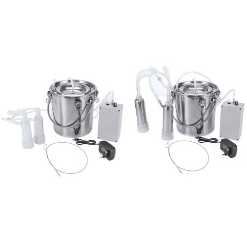 5L Dual Head Farm Milking Machine Cow Goat Sheep Milker Vacuum Pump Barrels