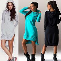 Women Winter Warm Dress Long Sleeve Top Ladies Hoodie Pockets Sweater Dress 6-14