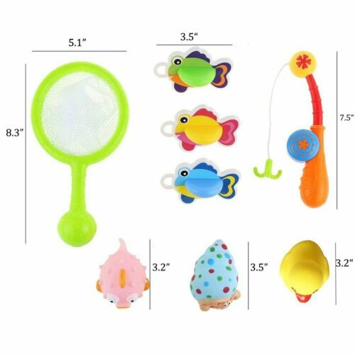 Bath Toys Fishing Game with Fishing Net Poles Rods Fishes Bathtime Tub Water Toy