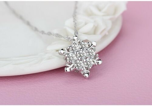 Stamped 925 Sterling Silver Icy Lab Topaz Frozen Snowflake Crystal Necklace P21