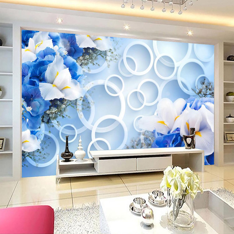 3D bluee Fresh Flowers Plant 527 Wall Paper Wall Print Decal Wall AJ WALLPAPER CA